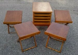 End-Table-4-TV-Tray-Tables-Drawers-Folding-Space-Saver-1980-039-s-Allen-Classics