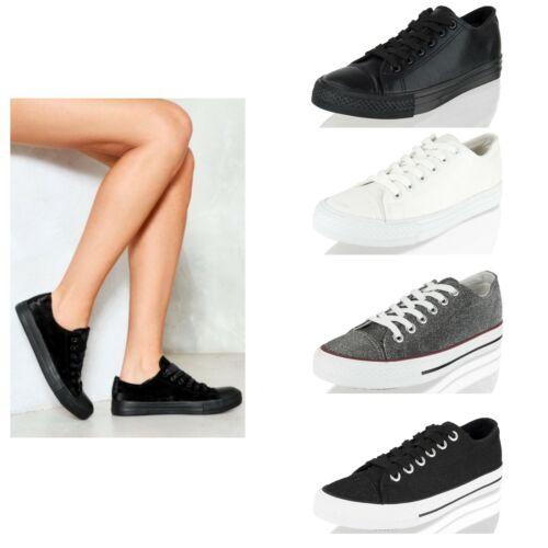 Femme Femmes Lacets Plat filles à lacets baskets escarpins toile École Chaussures