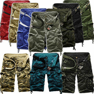 Mens-Camo-Cargo-Shorts-Military-Army-Tactical-Combat-Work-Pants-Half-Trousers