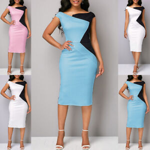 Fashion-Womens-Bodycon-Slim-Business-Party-Evening-Cocktail-Midi-Pencil-Dress