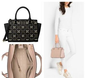 Image is loading Michael-Kors-Selma-Medium-Studded-Satchel-Handbag-Saffiano- 38a5e633703b1
