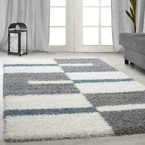 Design-Poil-Haut-Tapis-Shaggy-Long-a-Carreaux-Motif-des-Turquoise-Gris-Blanc