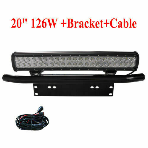 126W 20inch LED WORK LIGHT BAR FLOOD SPOT COMBO OFFROAD 4WD SUV+License Plate