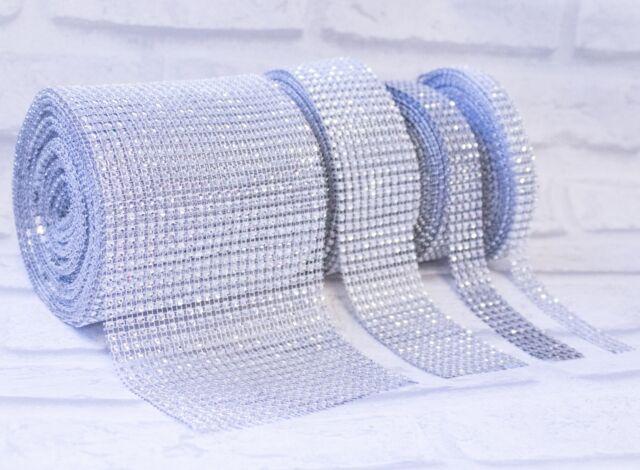Diamante Effect Silver Ribbon Trim For Cake Bridal Wedding Craft 5 Rows 25mm
