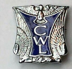 Art-Deco-Catholic-Women-039-s-league-chrome-amp-Enamel-badge