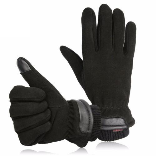 Deerskin Winter Warm Men/'s Work Gloves Driver Windproof Security Protection Wear