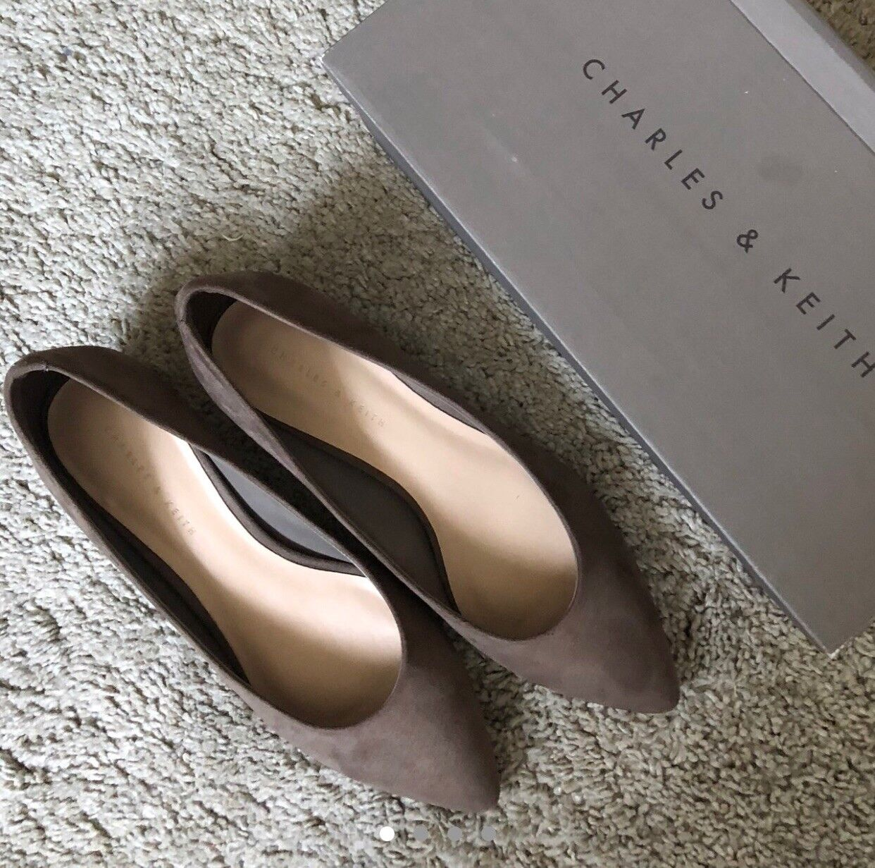 Kieth & Charles Chocolate Brown gold Framed Square Healed shoes