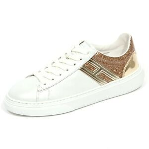 G1588 sneaker donna HOGAN H365 pearl white/gold leather shoes women