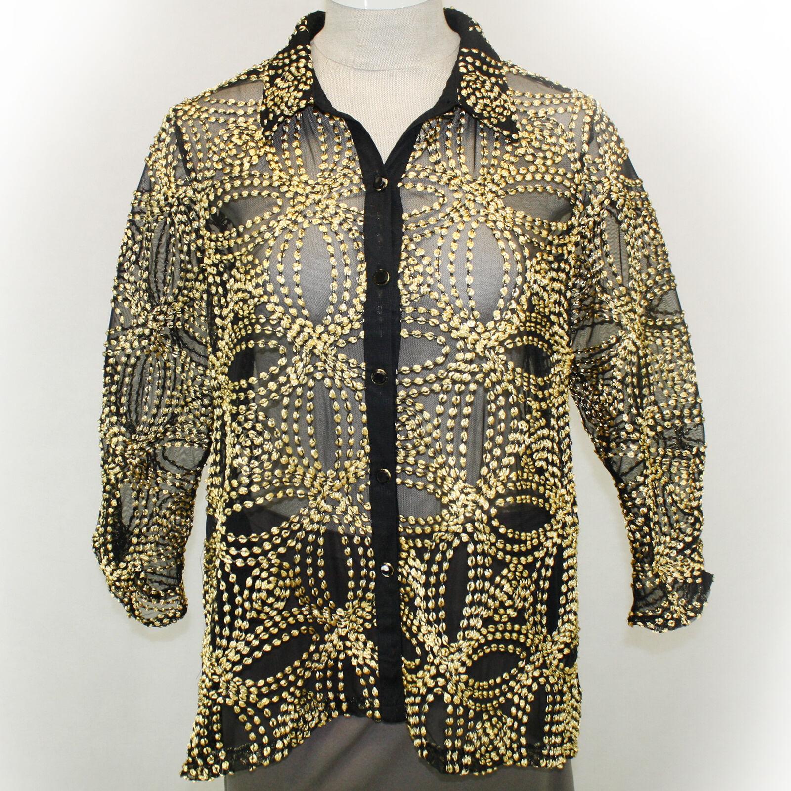 NEW NWT Berek Plus Größe Embroiderot Seeds of Gold Mesh Jacket Blouse Top 2X, 2XL