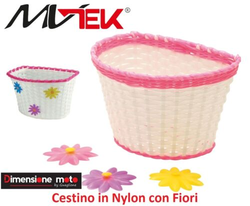 0140-basket Baby Nylon White//Pink with Flowers for Folding Bike 16-20