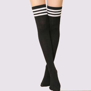 1pcs Femmes Rayure Chaussettes Hautes Genoux Fashion Bas Chausettes Au-dessus