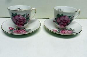 CLARE-ENGLAND-BONE-CHINA-2-SETS-CUP-amp-SAUCER-GORGEOUS-LARGE-ROSES-PATTERN-VINTAGE