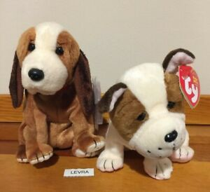 2 lot HOLMES BBOM & HUGGINS dogs / puppies Ty BEANIE BABY new MWMT