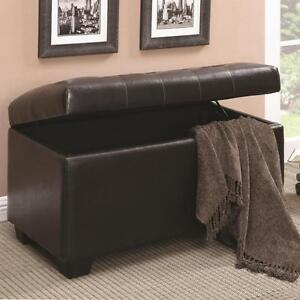 Details About Dark Brown Storage Ottoman Bench By Coaster 500948