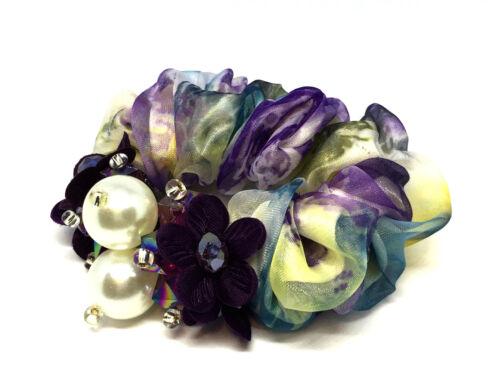 VINTAGE Cristallo Fiore per capelli elastici per capelli in Chiffon Elastico scricchiolio Capelli Bobbles UK