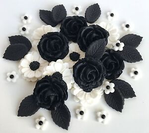 Blackwhite roses bouquet cake decorations sugar flowers cupcake image is loading black white roses bouquet cake decorations sugar flowers mightylinksfo