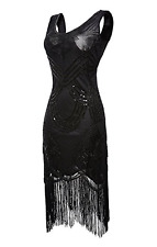 1920s Flapper Dress Vintage Gatsby Beaded Sequin Fringe Dress Art Deco (Medium)