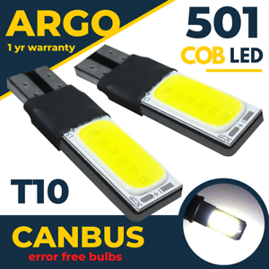 2x T10 Car Bulbs Led Error Free Canbus 501 Side Light Bulb Xenon White W5w Cob