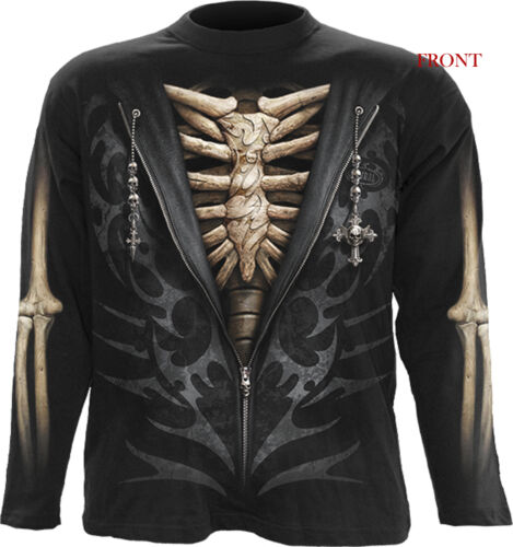 Spiral Direct UNZIPPED Man Long Sleeve T-shirt//Skeleton//Skull//Rock//Metal//Top//Tee