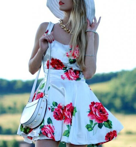 Vestito Donna - Woman Dress - Rose Stampate - mod.110017
