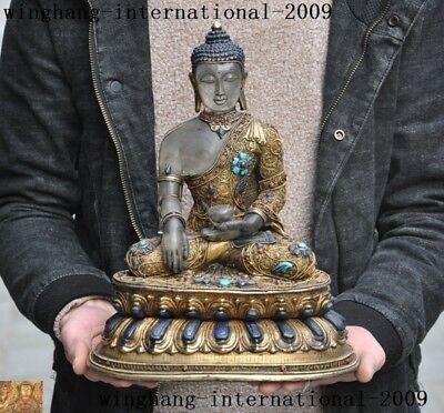 "12""crystal Silver 24k Gold Filigree Inlay Gem Shakyamuni Medicine Buddha Statue Vivid And Great In Style"