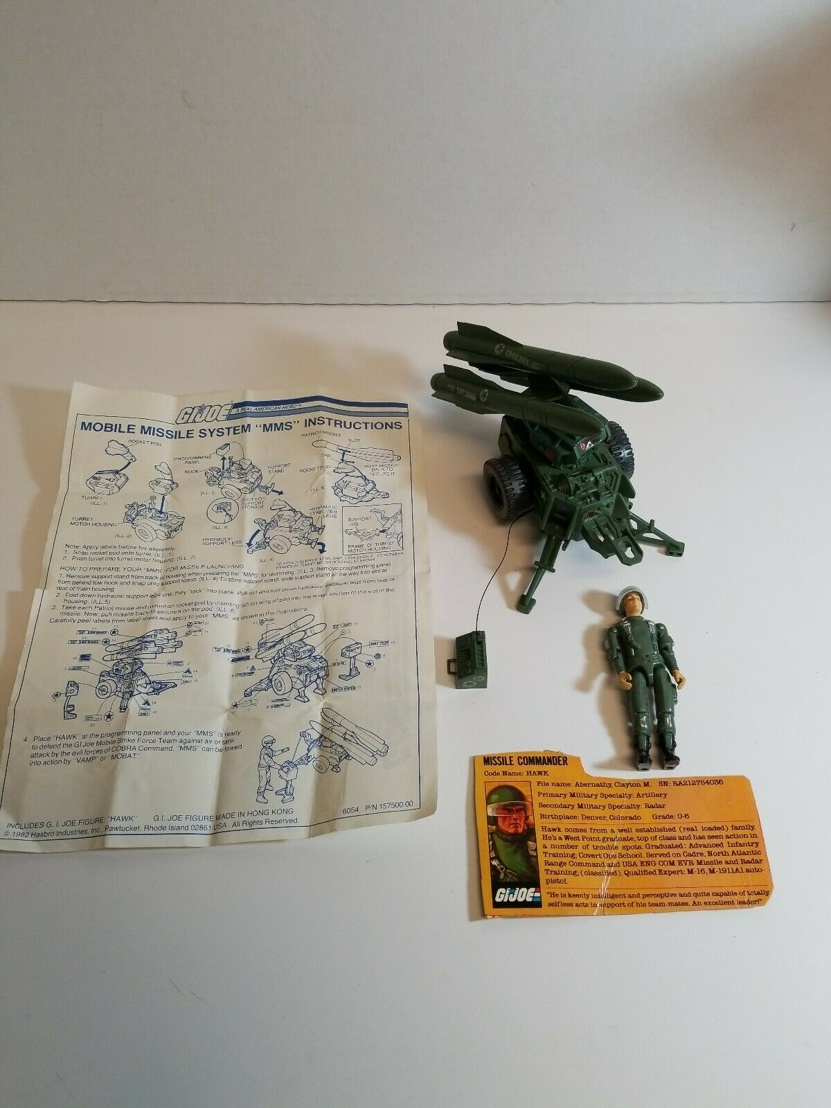 Vintage 1982 GI Joe Series 1  Mobile Missle System MMS w Straight Arm Hawk