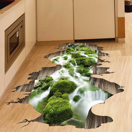 3D Funny //Removable Stream Floor Wall Sticker Mural Waterproof Creative Stickers