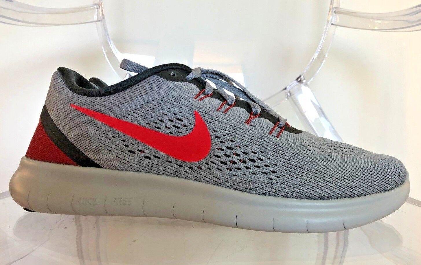 NIKE Men's Free RN Running Shoe 831508 012 Cool Grey/Action Red-Black SZ 8.5