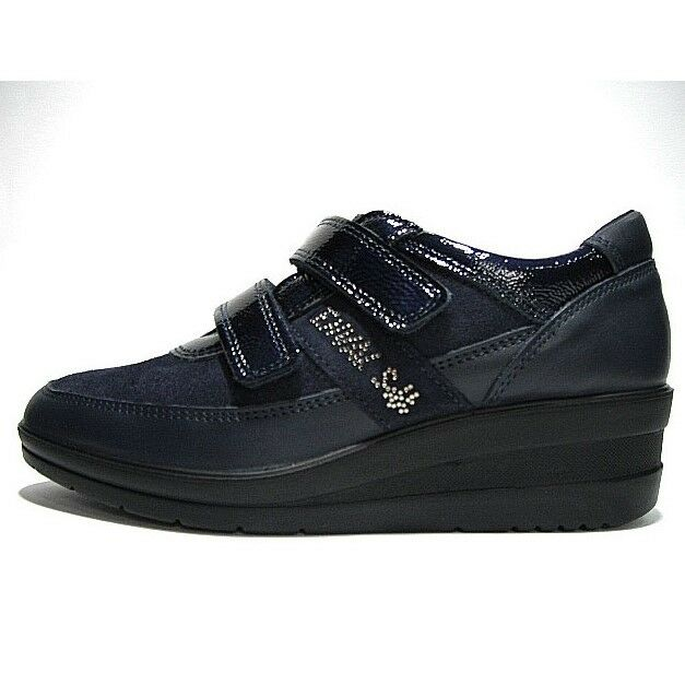 Enval Soft Comfortable shoes women Pelle Navy with Glossy Leather Straps