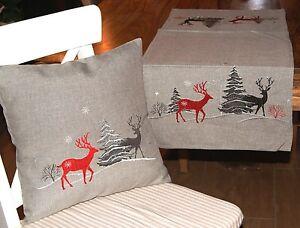 Weihnachten Hirsch Grau Rot Tischlaufer Kissenhulle