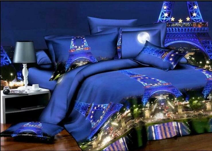 3D Cotton Blend Bedding Sets Queen Print Bed Duvet Cover Paris Night View 4 Pcs