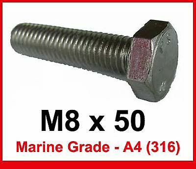 M8 x 50 MARINE Grade Stainless Steel Bolts 8mm x 50mm Hex Head x10 A4//316