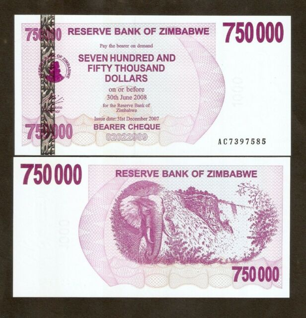 Zimbabwe 750 000 Dollars 2007 P52 Bearer Check Unc Inflation Currency Banknote