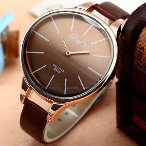 Quartz-Wrist-Watch-For-Women-Lady-Beauty-Brown-Leather-Bend-Case-Slim-Bracelet