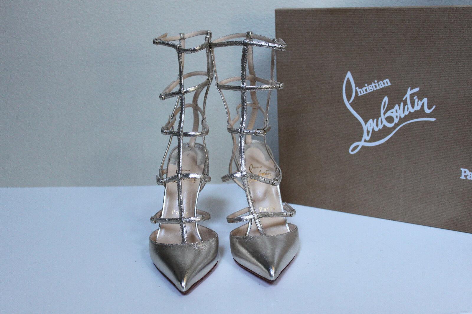 New sz 7.5   38 Christian Louboutin Kadreyana gold gold gold Leather Cage Sandal shoes ddd008