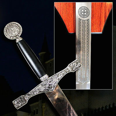 "Excalibur Silver 45"" Sword with Wood Plaque Camelot King Arthur Collectible"