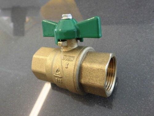 "Messing Trinkwasser Kugelhahn DVGW 3//4/"" IG Flügelgriff grün Heizung//Sanitär 110°"