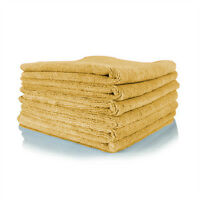 6 Gold Irregular Microfiber Towels Cleaning Plush 16x16 300 Gsm Lintfree on Sale
