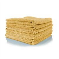 6 Gold Irregular Microfiber Towels Cleaning Plush 16x16 300 Gsm Lintfree on Sale