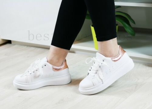 Femme Chunky Lace Up Baskets Sport Running Comfy Femmes Chaussures Compensées Tailles