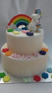 Handmade-Unicorn-figure-Rainbow-and-flowers-Personalised-Edible-Cake-Topper