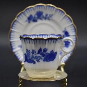 Copeland-Spode-Cup-amp-Saucer-Cobalt-Blue-Flower-Gold-Trim-Pattern-8685-C-1896