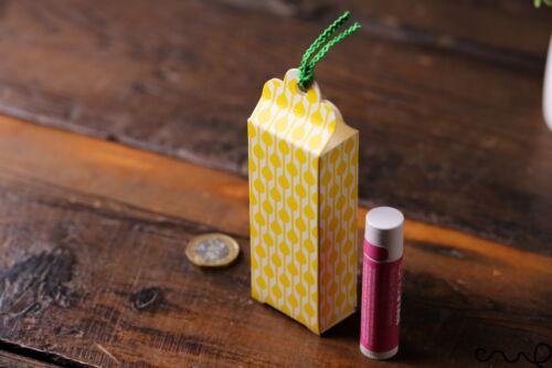 10 x minuscule Petite Boîte Cadeau Jaune Ruban Vert Cravate Mariage Bijoux Bonbons