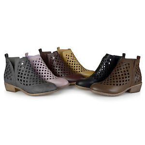 Journee-Collection-Womens-Chunky-Heel-Caged-Cut-out-Ankle-Booties-New