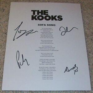 The Kooks Group Signed Autograph Sofa Song Lyrics Sheet Wproof