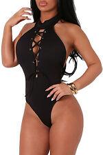 Club Top Body aperto Lacci Nudo intreccio Colletto Lace-up Bare Back Bodysuit M