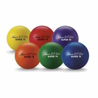 Dodge Balls Set of 6 Assorted Colors Dodgeball Soft Ball Sports Toys w Hand Pump