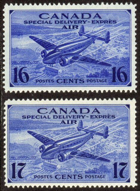 1942-43 CANADA 16¢-17¢ AIR POST SPECIAL DELIVERY STAMPS, MINT MNH, Scott CE1-CE2