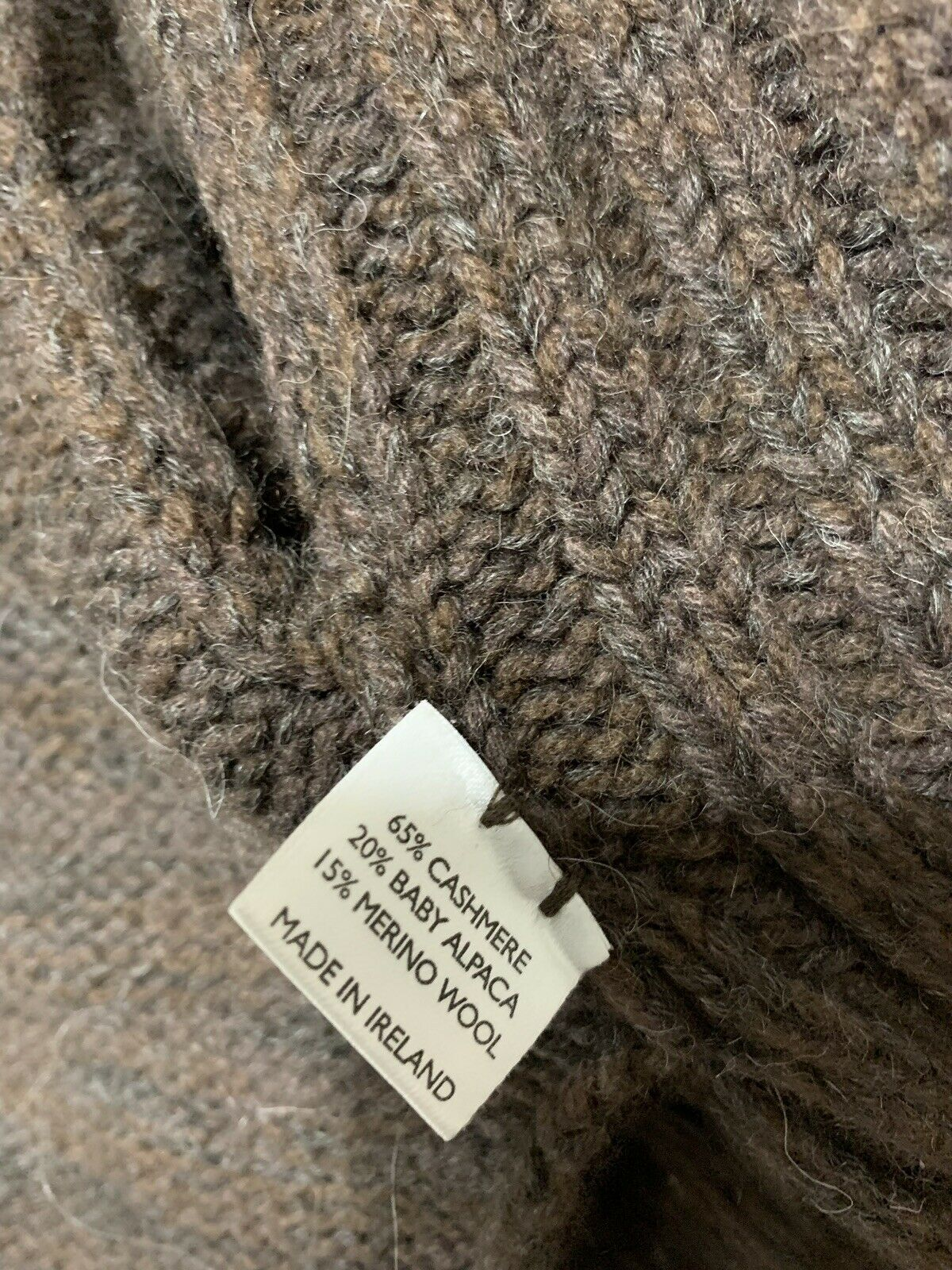 Inis Meain Wool Alpaca Cashmere Brown Knit Open F… - image 7