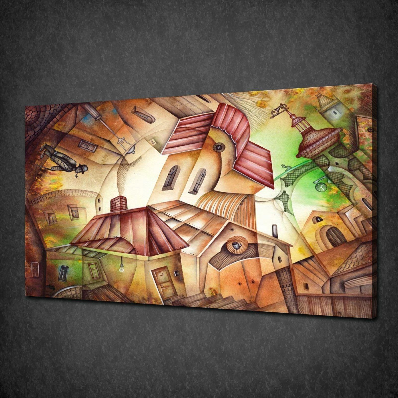 Cubisme art maisons modernes toile prêt à accrocher toile modernes impression photo wall art design 8717d6